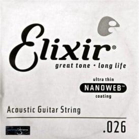 Elixir Nanoweb E15126 80/20 Bronze Acoustic Guitar Single String .026