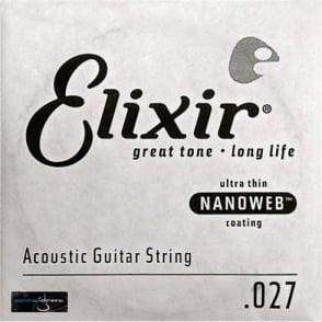 Elixir Nanoweb E15127 80/20 Bronze Acoustic Guitar Single String .027