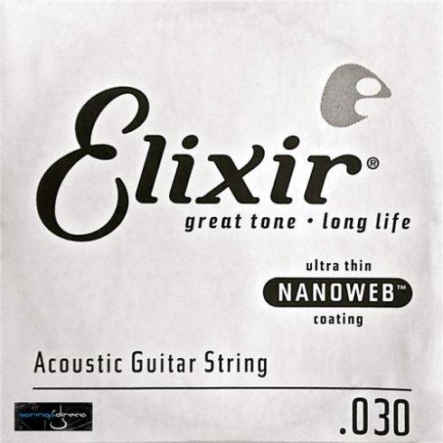 Elixir Nanoweb E15130 80/20 Bronze Acoustic Guitar Single String .030