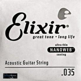 Elixir Nanoweb E15135 80/20 Bronze Acoustic Guitar Single String .035