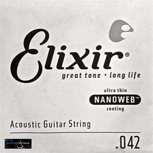 Elixir Nanoweb E15142 80/20 Bronze Acoustic Guitar Single String .042