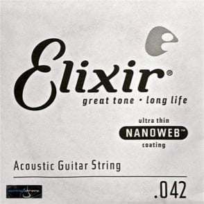 Elixir Nanoweb E15142 80/20 Bronze Acoustic Guitar Single String .042