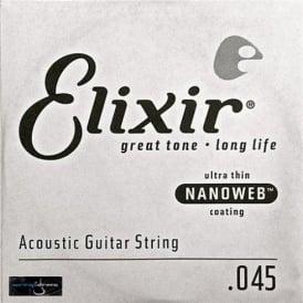 Elixir Nanoweb E15145 80/20 Bronze Acoustic Guitar Single String .045