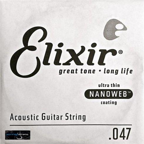 Elixir Nanoweb E15147 80/20 Bronze Acoustic Guitar Single String .047