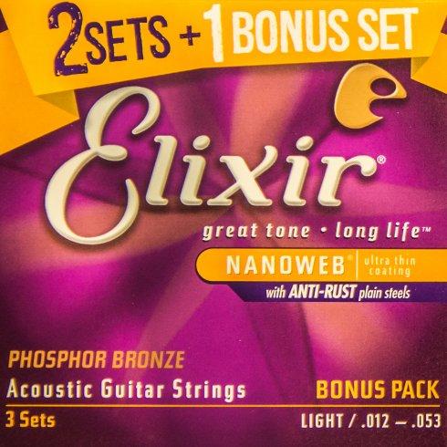 elixir nanoweb phosphor bronze acoustic guitar strings bonus pack. Black Bedroom Furniture Sets. Home Design Ideas