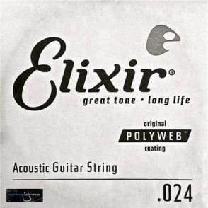 Elixir Polyweb E13124 80/20 Bronze Acoustic Guitar Single String .024