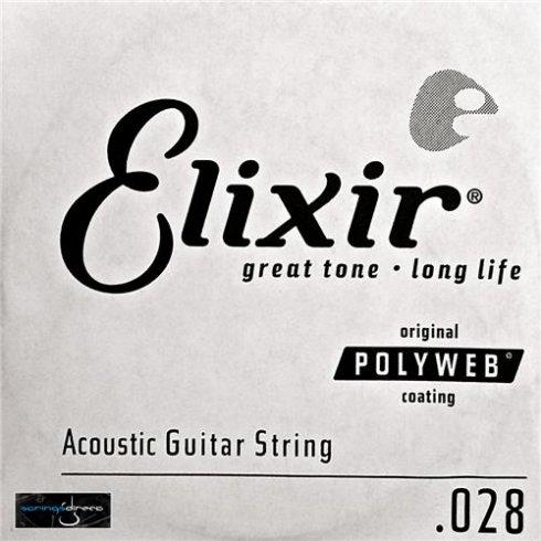 Elixir Polyweb E13128 80/20 Bronze Acoustic Guitar Single String .028