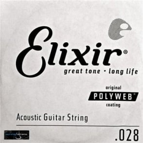 Elixir Polyweb E13128 80/20 Bronze Acoustic Guitar Single String .028
