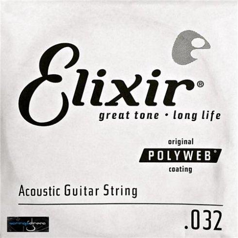 Elixir Polyweb E13132 80/20 Bronze Acoustic Guitar Single String .032
