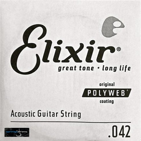 Elixir Polyweb E13142 80/20 Bronze Acoustic Guitar Single String .042