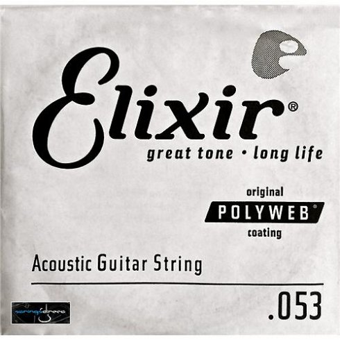 Elixir Polyweb E13153 80/20 Bronze Acoustic Guitar Single String .053