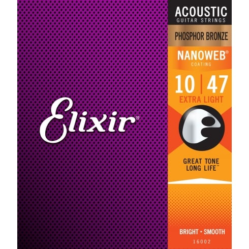 Elixir Nanoweb 10-47 Phosphor Bronze Acoustic Guitar Strings