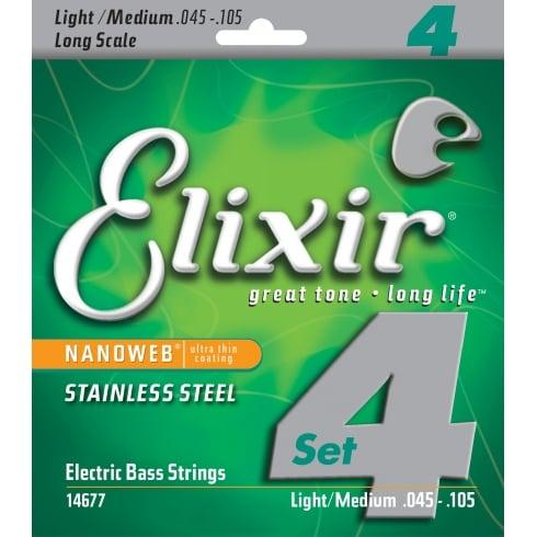 Elixir Nanoweb 45-105 Stainless Steel Bass Guitar Strings, Long Scale
