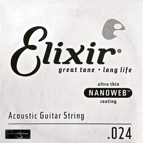 Elixir Nanoweb 80/20 Bronze Single String .024