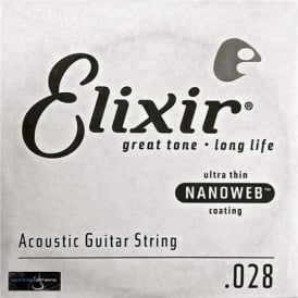 Elixir Nanoweb 80/20 Bronze Single String .028