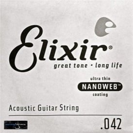 Elixir Nanoweb 80/20 Bronze Single String .042