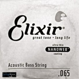 Elixir Nanoweb Acoustic Bass Single String .065, Long Scale