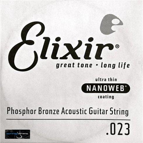 Elixir Nanoweb E14123 Phosphor Bronze Acoustic Guitar Single String .023