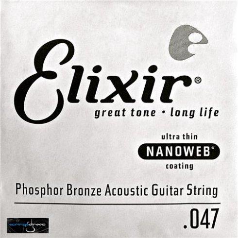 Elixir Nanoweb E14147 Phosphor Bronze Acoustic Guitar Single String .047