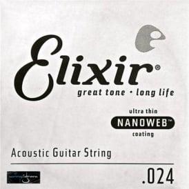 Elixir Nanoweb E15124 80/20 Bronze Acoustic Guitar Single String .024