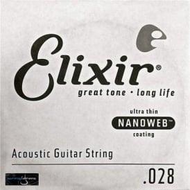 Elixir Nanoweb E15128 80/20 Bronze Acoustic Guitar Single String .028