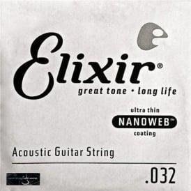 Elixir Nanoweb E15132 80/20 Bronze Acoustic Guitar Single String .032
