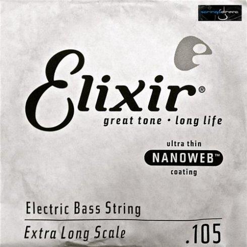 Elixir Nanoweb Nickel Wound Bass Single String .105XL, Extra Long