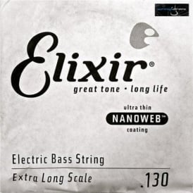 Elixir Nanoweb Nickel Wound Bass Single String .130XL Extra Long Scale