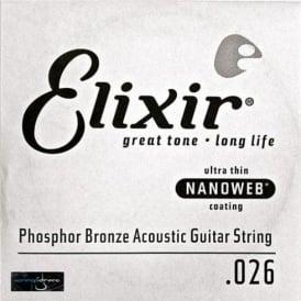 Elixir Nanoweb Phosphor Bronze Single String .026