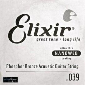 Elixir Nanoweb Phosphor Bronze Single String .039