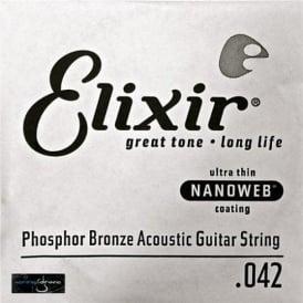 Elixir Nanoweb Phosphor Bronze Single String .042
