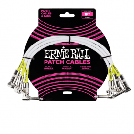 Ernie Ball 1' Angle-Angle Patch Cable, White, 3-Pack