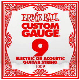 Ernie Ball 1009 Plain Steel Single Guitar String .009