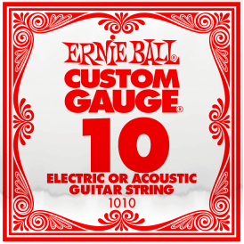 Ernie Ball 1010 Plain Steel Single String .010 Gauge Guitar String