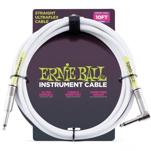 Ernie Ball 10ft White Instrument Guitar Cable Straight - Angled