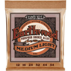 Ernie Ball 2146 Earthwood Phosphor Bronze Acoustic Guitar Strings 12-54 Medium Light