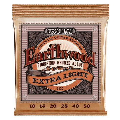 Ernie Ball 2150 Earthwood Phosphor Bronze Acoustic Guitar Strings 10-50 Extra Light