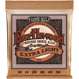 Ernie Ball 2150 Earthwood Phosphor Bronze Acoustic Guitar Strings 10-50 Extra Light