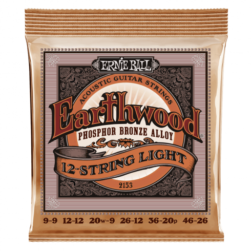 Ernie Ball 2153 Acoustic Phosphor Bronze Acoustic Guitar Strings 9-46 12-String Slinky