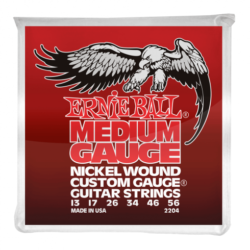 Ernie Ball 2204 Nickel Wound Custom Electric Guitar Strings 13-56 Medium