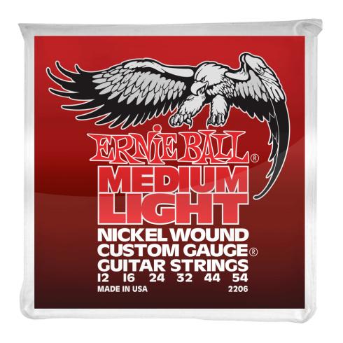 Ernie Ball 2206 Nickel Wound Custom Electric Guitar Strings 12-54 Medium Light
