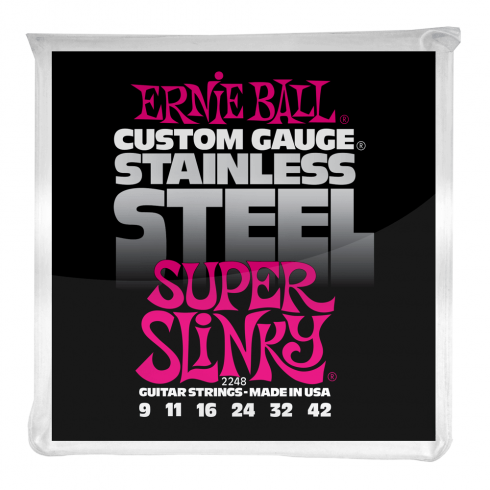 Ernie Ball 2248 Stainless Steel Electric Guitars Strings 9-42 Super Slinky