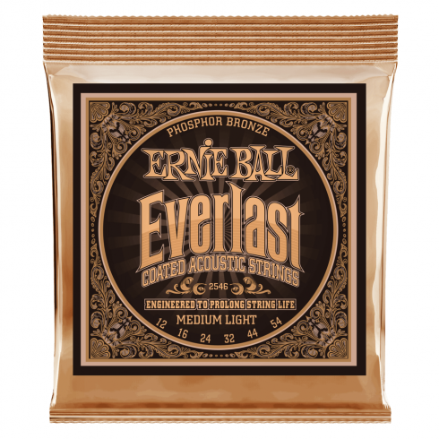 Ernie Ball 2546 Everlast Coated Phosphor Bronze Acoustic Guitar Strings 12-54 Medium Light