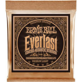 Ernie Ball 2546 Everlast Coated Phosphor Bronze Acoustic Guitar Strings 12-54 Medium Light