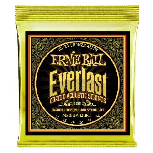 Ernie Ball 2556 Everlast 80/20 Bronze Acoustic Guitar Strings 12-54 Medium Light