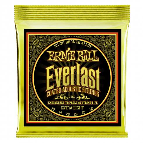 Ernie Ball 2560 Everlast 80/20 Bronze Acoustic Guitar Strings 10-50 Extra Light