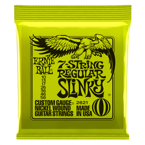 Ernie Ball 2621 Nickel Wound Electric Guitar Strings 10-56 7-String Regular Slinky