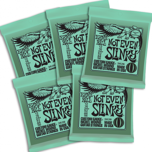 Ernie Ball 2626-5 Nickel Wound Electric Guitar Strings 12-56 Not Even Slinky 5-PACK