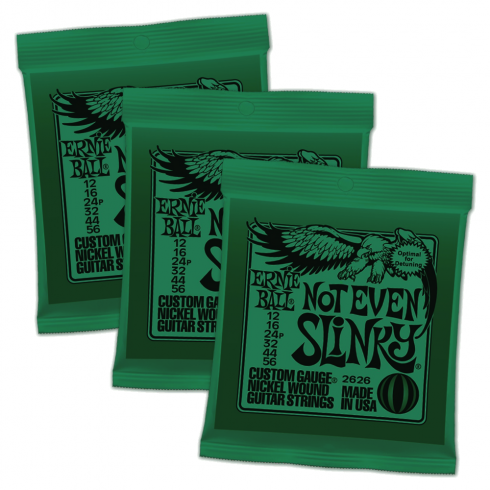 Ernie Ball 2626 Nickel Wound Electric Guitar Strings 12-56 Not Even Slinky 3-Pack