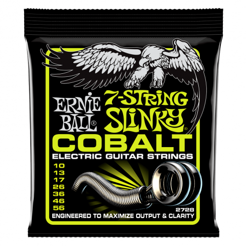 Ernie Ball 2728 Cobalt Electric Guitar Strings 10-56 7-String Regular Slinky